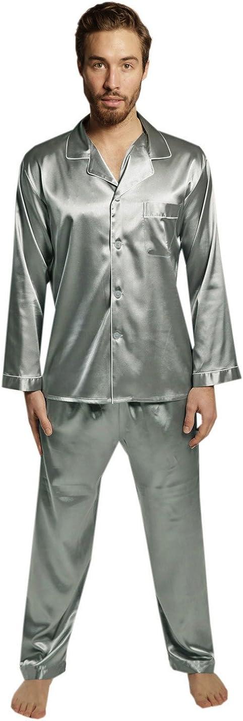 SILK MODA 2 PCS Set Mens Top Lounge Silk Pants Super Max 72% OFF beauty product restock quality top Pajama