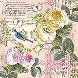 20 servilletas de escena vintage con rosas, pájaros, mariposas y flores, 33 x 33 cm