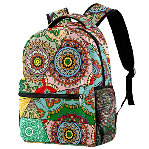 LORVIES Floral Mosiac Mandalas Pattern Bookbags Student Daypack Backpacks for Boys Girls