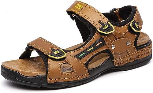 Sandales été Cuir Cuir Cuir de Randonnée Hommes Chaussures de Marche en Sandales Scratch Bout Ouvert Confortable pour Plage 9bb