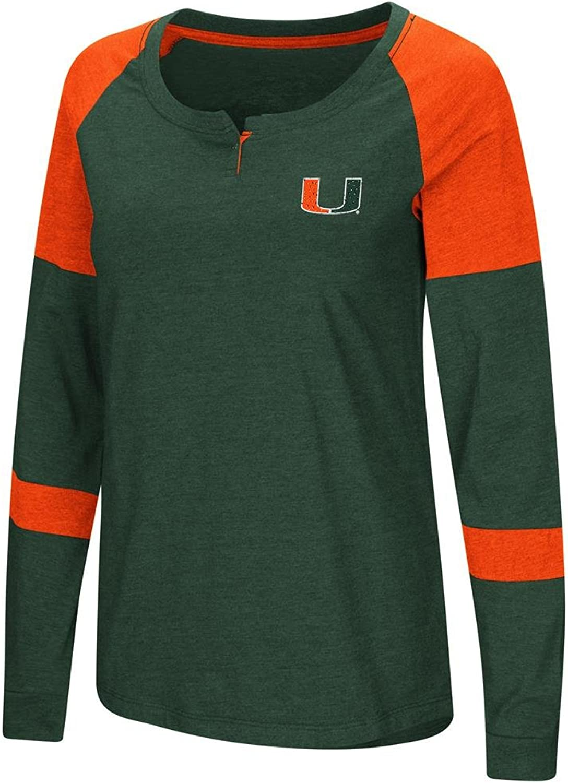 Colosseum Ladies Miami Hurricanes Green Smaller Fit Dgoldthy Long Sleeve Raglan T Shirt