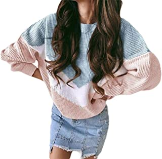 Womens Long Sleeve Off Color Block Patchwork Pullover Warm Loose Knitted Jumper Sweater Sweatshirt