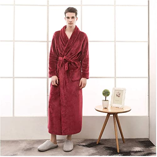 OMFGOD Hommes's Hiver Peignoir Mode Loisirs Flanelle Pyjamas Solide épaisseur Long Robe de Nuit Wine rouge