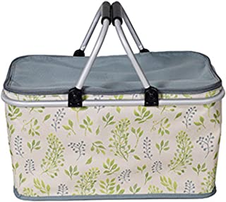 Picnic Bag Aluminum Alloy Picnic Basket Family Folding Lunch Bag Outdoor Portable Coolers Fridge Beer Ice Box,White