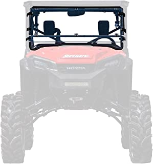 SuperATV Heavy Duty Scratch Resistant Clear Flip/Tilt Down/Folding Windshield for Honda Pioneer 1000/1000-5 (2016+) - Hard Coated for Extreme Durability - Installs In 5 Minutes! 2 Windshields in 1!