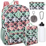 Girl's 6 in 1 Backpack Set With Lunch Bag, Pencil Case, Bottle, Keychain, Clip (Hearts)