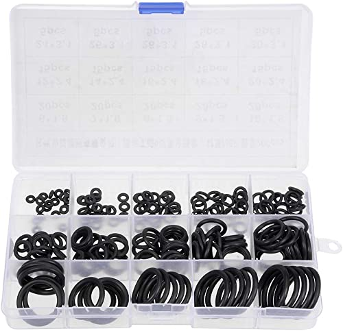 uxcell Nitrile Rubber O-Ring Assortment Kit 200 Pieces 15 Sizes Metric Buna-N Sealing Gasket Set, Black