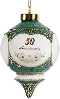 Happy 50th Wedding Anniversary Jewel Victorian 4.5 Inch Ball Hanging Ornament