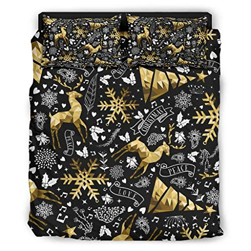 WellWellWellwell - Camiseta de Navidad de 4 piezas con cremallera, incluye 1 funda nórdica y 1 funda de almohada y 2 fundas de almohada, color blanco 240 x 264 cm