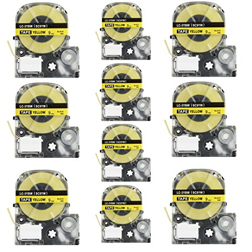 Replace Label Tape for Epson LK4YBW,Label Maker Tape Refills Cartridge Cassette LC4YBW9 LC4YBW SC12YW LK4YBW Black on Yellow 1/2 Inch X 26.2 Feet(12mm x 9M),10 Pack