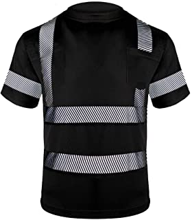 Men's Class 2 Hi Vis Shirt Solid color Safety Short Sleeves T-Shirt
