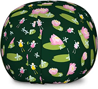 Ambesonne Nature Art Storage Toy Bag Chair, Water Lilies on The Lake Fairy Elves Flying Fantasy World Imagination, Stuffed Animal Organizer Washable Bag for Kids, Large Size, Baby Pink Dark Green