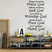 Wall Stickers Murals Christian Praise Seek God Quote Wall Decal Bedroom Living Room Bible Verse Religion Trust Worship Thank God Wall Sticker Vinyl 77X56Cm