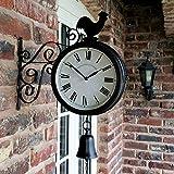 ウォールクロック 屋外ガーデンウォール駅時計ダブルはオスのひな鳥ヴィンテージレトロホームデコレーションを両面 (Color : Black)