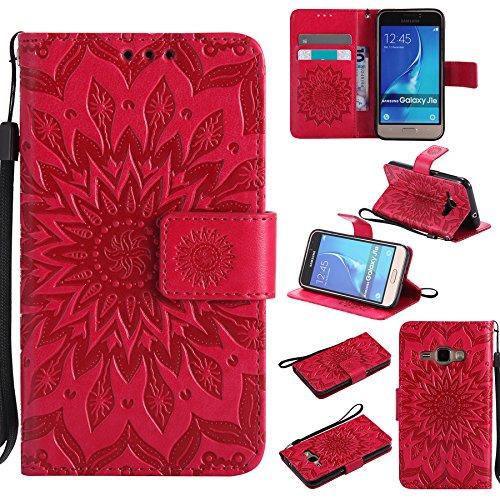 Ooboom® Samsung Galaxy J1 2016 Hülle Sonnenblume Muster Flip PU Leder Schutzhülle Handy Tasche Hülle Cover Stand mit Kartenfach für Samsung Galaxy J1 2016 - Rot