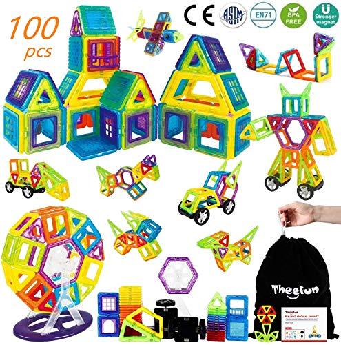Bloques Magneticos, Theefun 100 Piezas Bloques de Construcción Magnéticos Bloques de construcción de Bloques, Juguetes Construcciones Magneticas para Niños Juguetes Creativos y Educativos