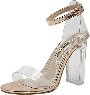 BakeLIN Damen Sandaletten mit Blockabsatz Durchsichtig Pantoletten Sommerschuhe Sandalen Frauen