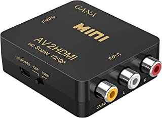 RCA to HDMI, AV to HDMI,GANA 1080P Mini RCA Composite CVBS AV to HDMI Video Audio Converter Adapter Supporting PAL/NTSC wi...