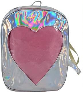 Felice Girls Hologram Laser Backpack Love Heart Daypack Rucksack Shoulder Bag (silver)