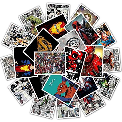 WYDML Spider-Man Iron Man Capitán América Retro Periódico Motocicleta Coche eléctrico Casco Graffiti Pegatina 25 Piezas