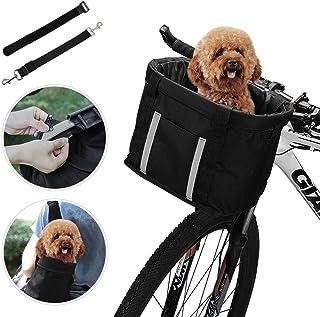 comprar comparacion ANZOME Cesta plegable para bicicleta, manillar desmontable delantero Bicicleta para mascota Carrier Carrier Pet,diámetro d...