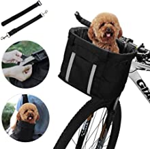 ANZOME Dogs Carrier Bike Basket, Handlebar Basket Folding Front Removable wiht Adjust Dog Seatbelts Bicycle Baset Quick Release Easy Install Detachable Cycling Bag Mountain Picnic Shopping