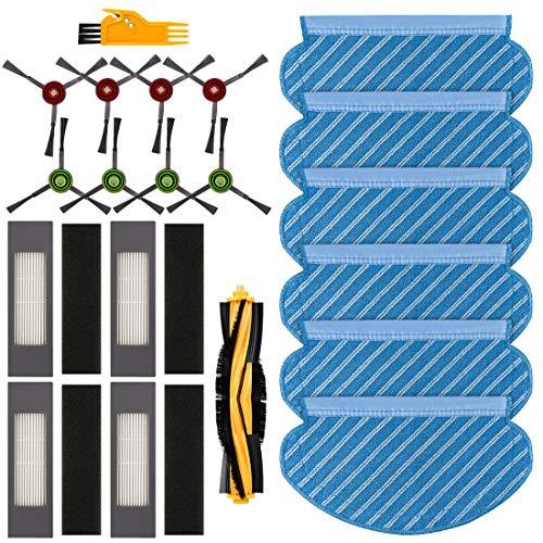 FHzytg 20 Stück Ersatzteile Wischtuch Bürste Filter Wischtücher Set für Ecovacs Deebot OZMO 920 950 Staubsauger Roboter