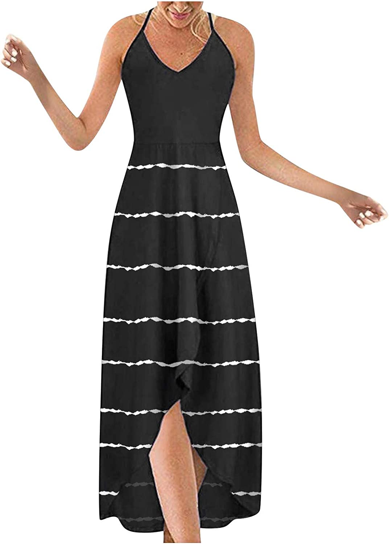 Aniwood Summer Dresses for Women Sleeveless Bohemian Printing Cami Sling Maxi Dresses Boho Dress Party Beach Sundress