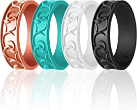 ROQ Silicone Wedding Ring for Women - 4 Pack & Singles Ornament Thin Silicone Rubber Wedding Band - Metallic and Matte Colors