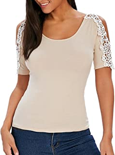 DIDWZW Blouse for Women, Lace Sheer Hollow Blouse Short Sleeve Solid Casual Tops T-Shirt, S-XXL