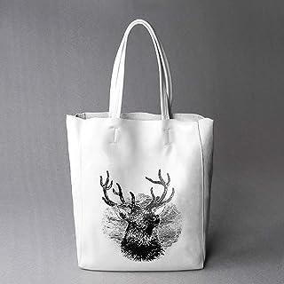 Bag Ms. Leather Big Bag Simple Leather High-Capacity Portable Backpack/Shoulder Bag Camping (Color : White)