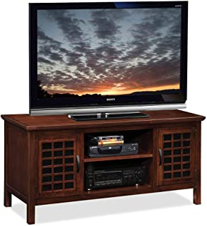 Leick 50-Inch Wide TV Stand with Black Glass, Chocolate Cherry