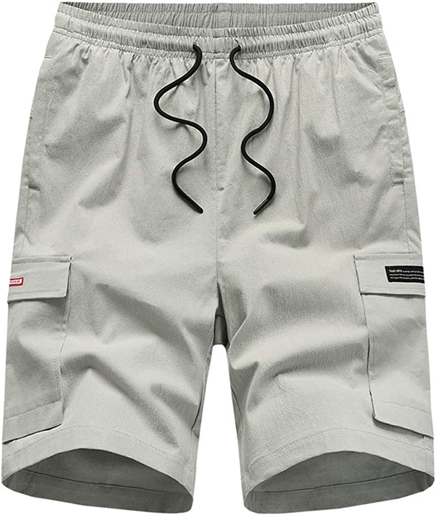 VEKDONE Shorts for Men Casual Elastic Waist Outdoor Summer Shorts Comfy Workout Shorts Big and Tall Beach Shorts