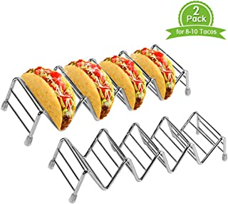 2 Pack Taco Holder Space for 8 to 10 Tacos, Ejoyous Stainless Steel Taco Stand Rack Holds Up to 4-5 Tacos Each,Ideal Taco Stand Tray for Soft Hard Shell with Silicone Protective Tips