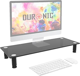 Duronic Monitor Stand Riser DM051 | Laptop and Screen Stand for Desktop | Black Tempered Glass | Support for a TV or PC Co...