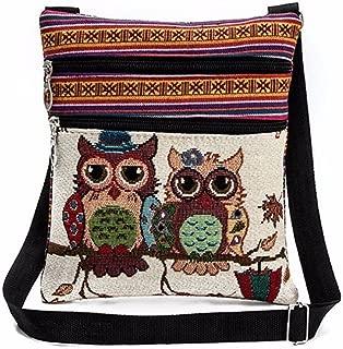 Women Bags, Embroidered Owl Tote Bags Women Shoulder Bag Handbags Postman Package