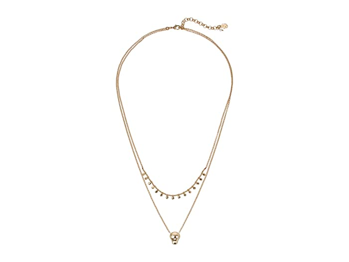 Lucky Brand  Skull Necklace (Gold) Necklace