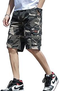Moranワークパンツ ショート メンズ ゴム スウェット ゆったり 半ズボン 五分丈 綿 ハーフパンツ 無地 迷彩 黒