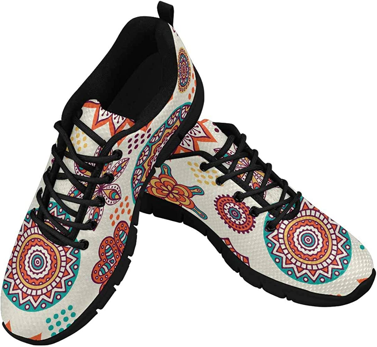 INTERESTPRINT Vintage Decorative Elements Women's Lightweight Athletic Casual Gym Sneakers