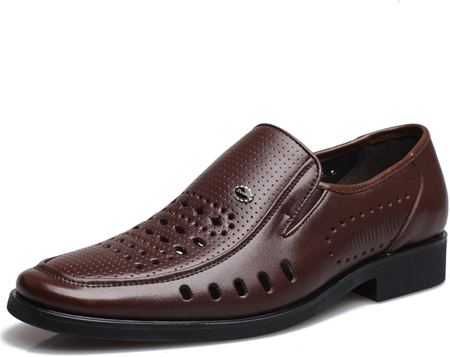 2018 New Men's shoes Business Leather Spring Summer Hollow-Out Breathable Loafers & Slip-Ons Driving shoes Office Casual Formal Business Work Dad shoes Black (color   B, Size   39)