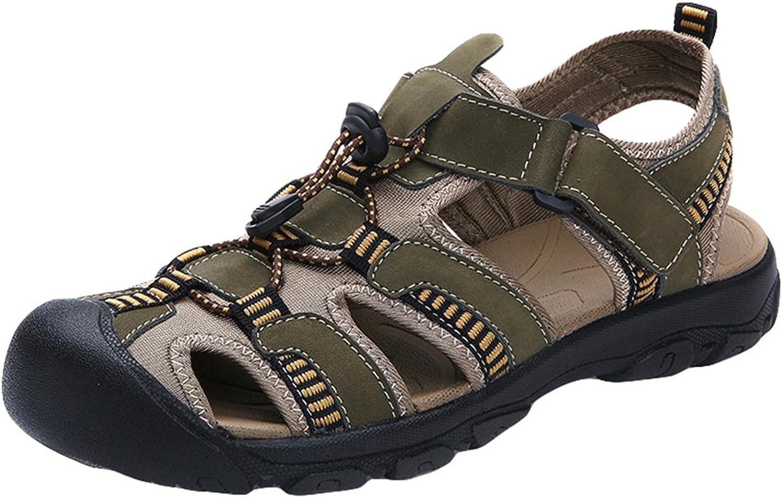 Hevego Zandalias Womens Closed Toe Leather Hiking Beach Fisherman Sandals