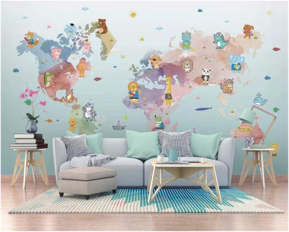 Custom Wallpaper 3D murals Low price Hand Drawn Animal C List price World Cartoon map