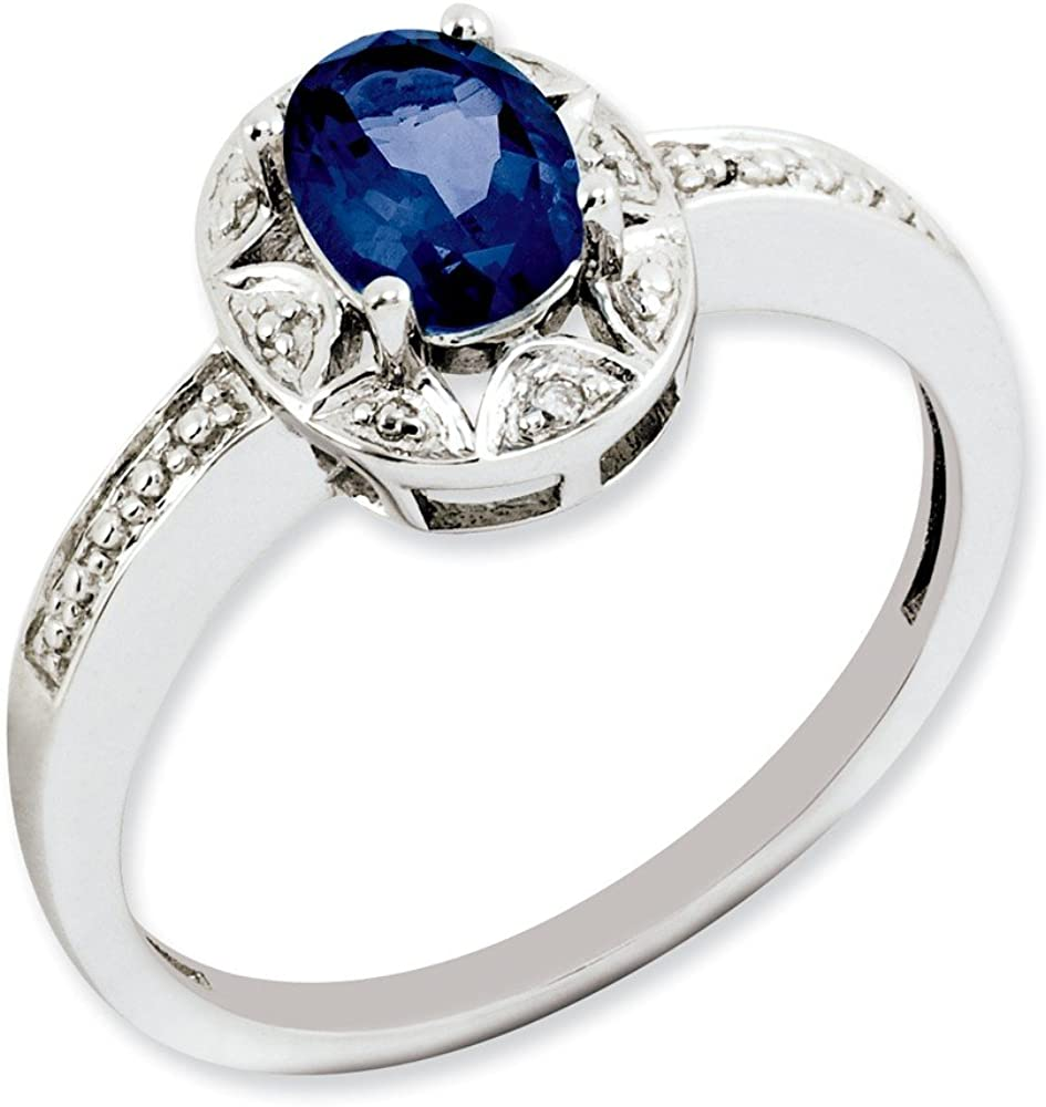 Sterling Silver Max 71% OFF Diamond Ring Created Sapphire Max 70% OFF