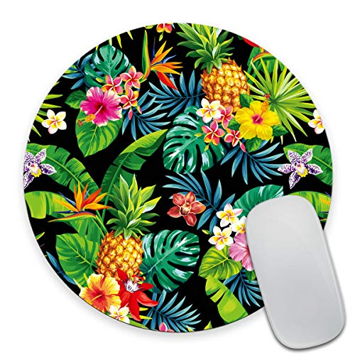 Smooffly Hawaiian Pineapples Print Art Green Round Mouse Pad, Tropical Palm Leaves and Flowers Circular Mouse Pads for Computers