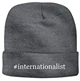 BH Cool Designs #Internationalist - Men's Hashtag Soft & Comfortable Beanie Hat Cap, Grey, One Size