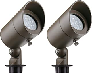 Lumina Low Voltage Landscape Lights Cast-Aluminum Waterproof Outdoor Spotlights for Walls Trees Flags Decorative Light with Warm White 4W MR16 LED Bulb and ABS Ground Stake Bronze SFL0101-BZLED2 (2PK)