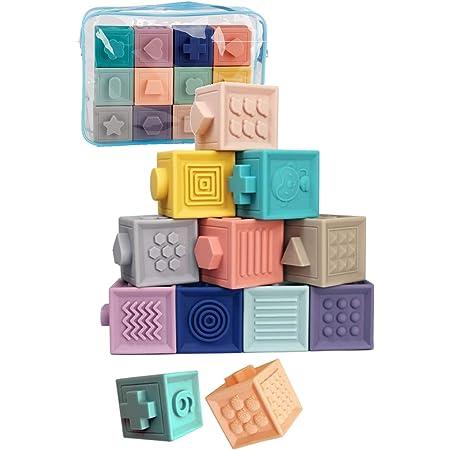 TAOTAO 積み木 みて・さわって・たのしい パステルキューブ 赤ちゃん おもちゃ 出産祝い 知育玩具 ソフトブロック (12個)