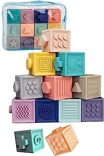 TAOTAO 積み木 みて・さわって・たのしい パステルキューブ 赤ちゃん おもちゃ 出産祝い 知育玩具 お風呂 (12個)