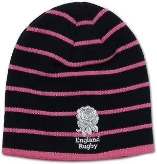 RFU England Rugby Ladies Stripe Beanie hat [Navy/Pink]