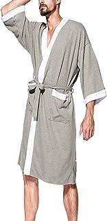 HX fashion Bathrobe Men's Long Comfortable Soft Breathable Sauna Coat Long Comfortable Sizes Sleeve V-Neck with Pockets Ca...